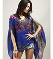 New 2016 Summer Casual Women's Fashion Prints Beach Sun Dress Embroidered Chiffon Blouse Plus Size Women's Clothing Wholesale