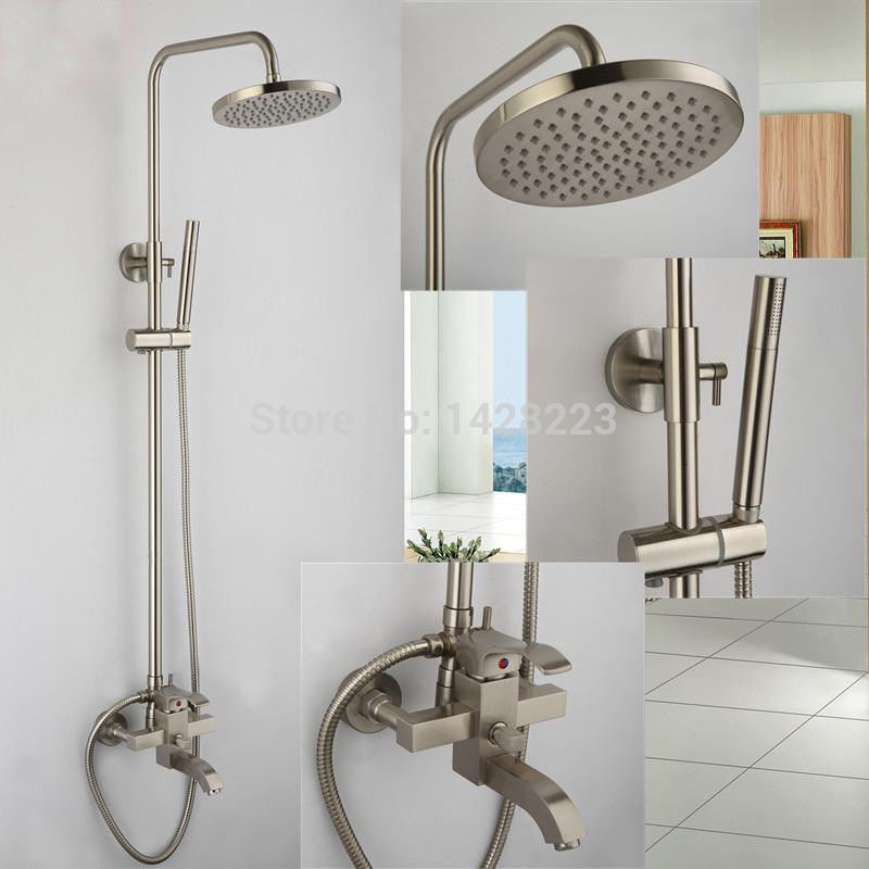 Good Quality Brushed Nickel 8 Rain Shower Faucet System Wall