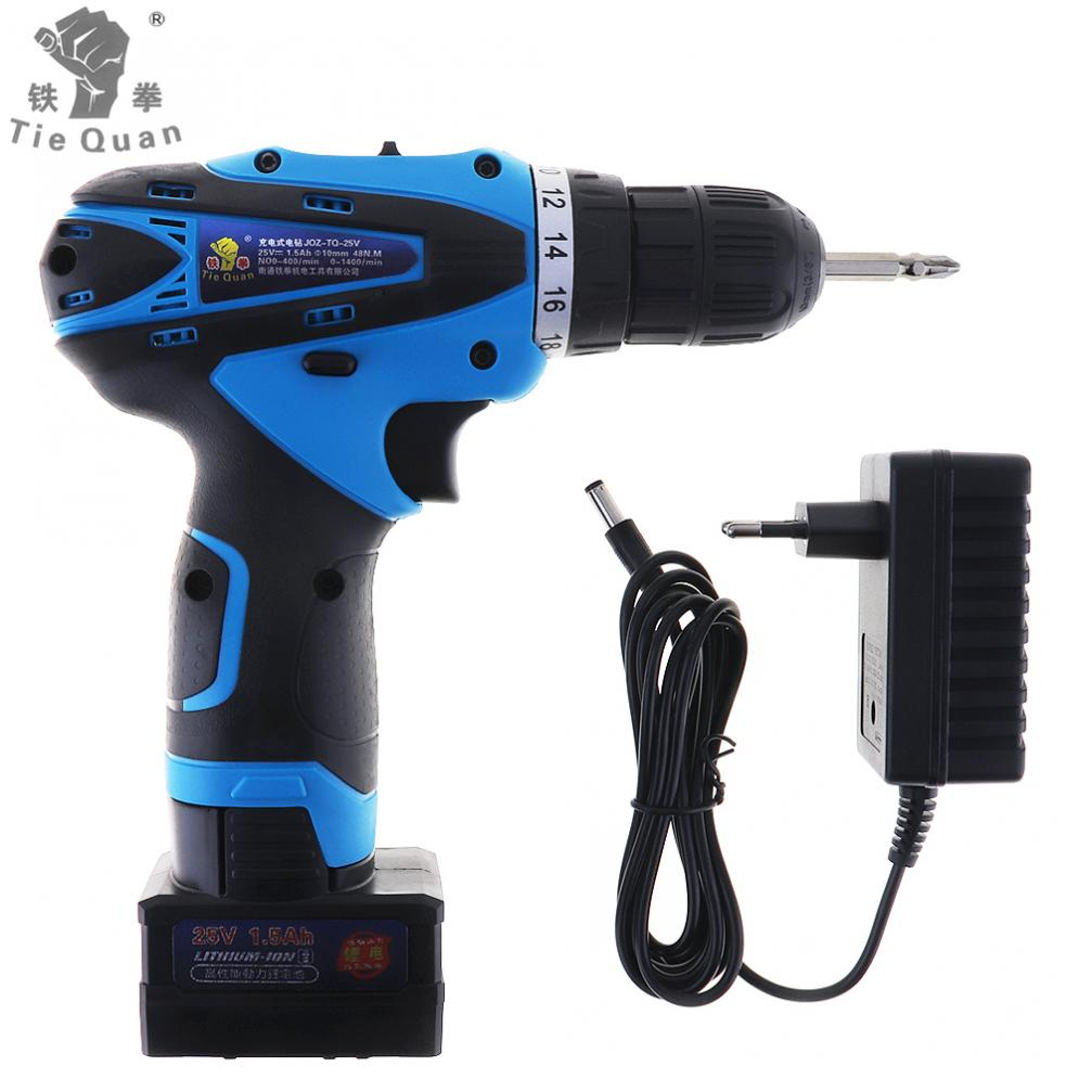 New AC 100 - 240V Cordless 25V Electric Drill / Screwdriver with Lithium Battery and Two-speed Adjustment Button