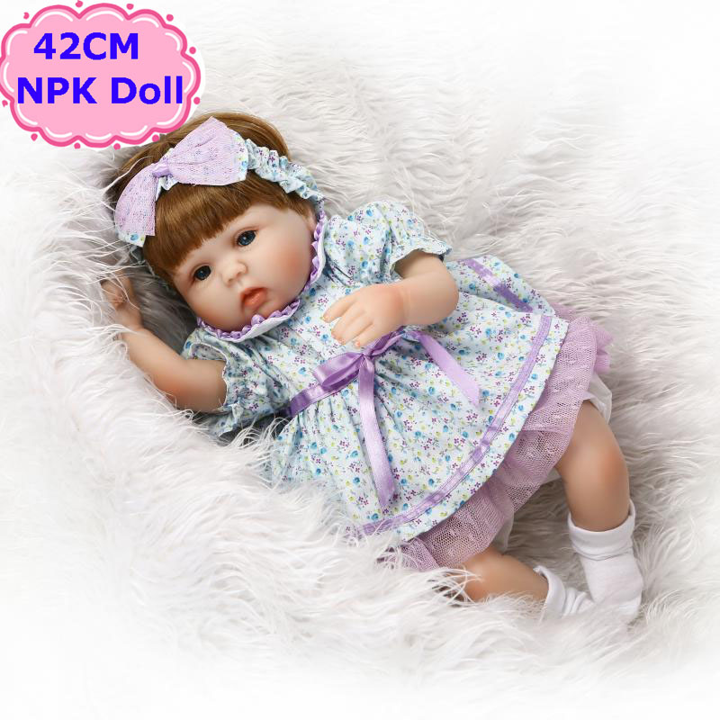New Arrival 42cm Alive Silicone Reborn Baby Doll Pretty Menina Toy In Nice Floral Skirt Hot Boneca Bebe Reborn For Girls As GiftNew Arrival 42cm Alive Silicone Reborn Baby Doll Pretty Menina Toy In Nice Floral Skirt Hot Boneca Bebe Reborn For Girls As Gift