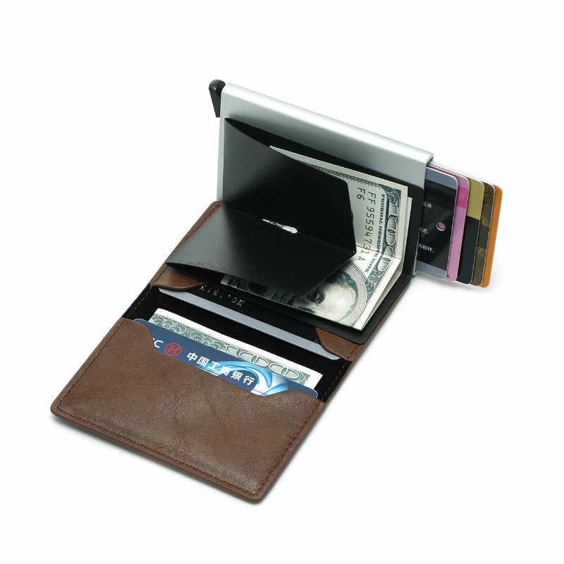 Antitheft Men Vintage Credit Card Holder RFID Automatic Elastic Aluminum Pu Card Package Men Card Holder Rifd Wallet Card Case