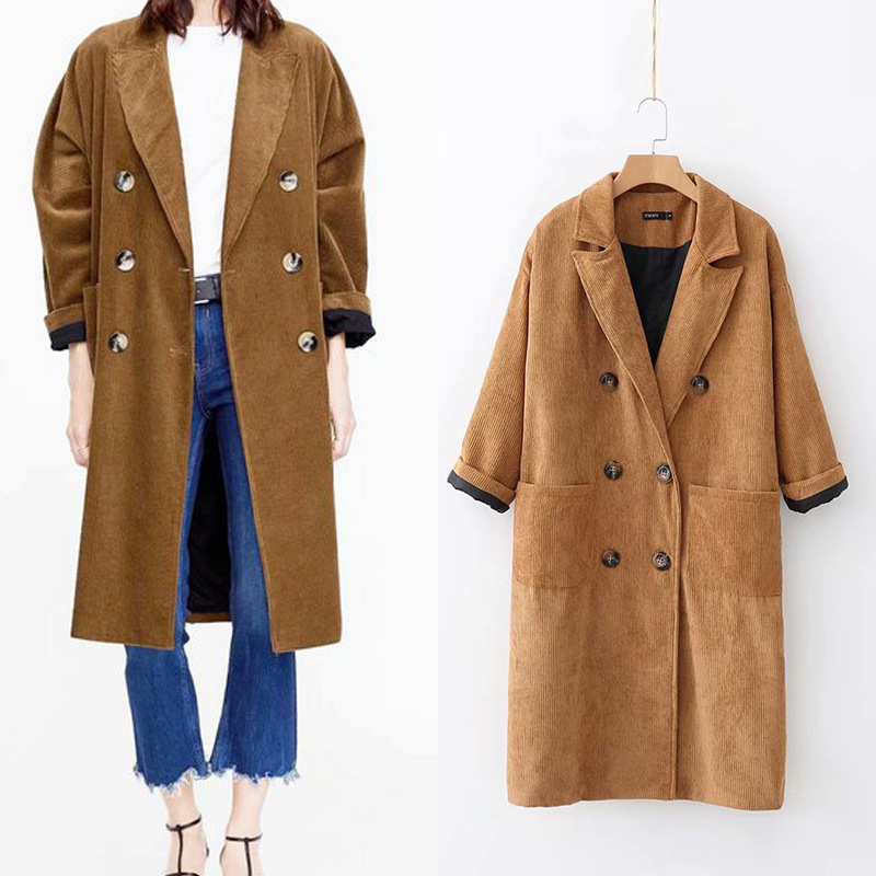 LXMSTH 2019 Autumn Loose Corduroy   Trench   Coat Long Women Double Breasted Turn Down Collar Long Sleeve Coat Ladies Casual Outwear