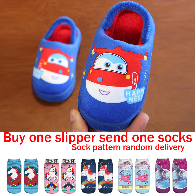 Aircraft Slippers Boys Fur Slippers Kids Winter Warm Shoes Girls Flip Flops Children Animal Cotton Home Shoes Baby Toddler Shoes