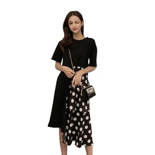 Sexy Womens Dress Polka-dot Long Maxi Loose Dresses Female Short Sleeve