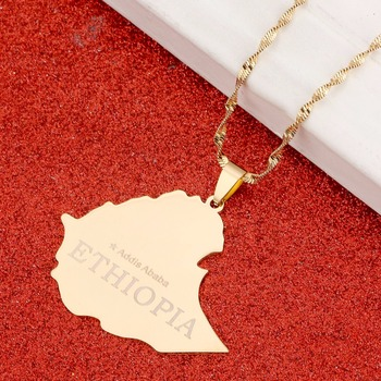 The Federal Democratic Republic of Ethiopia Map Pendant Chain Ethiopia Addis Ababa Necklace Maps image