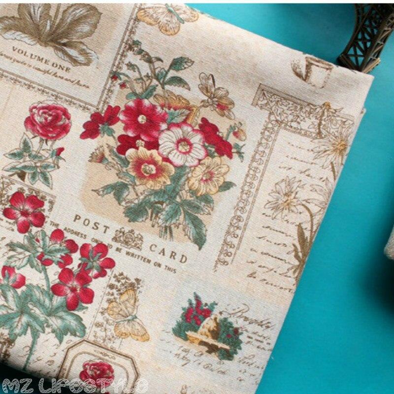 """145 ס""""מ רוחב מודפס Vintage כותנה פשתן בד תפירה טלאי תפירת DIY ספת שולחן בד ריהוט כיסוי כרית בד"""