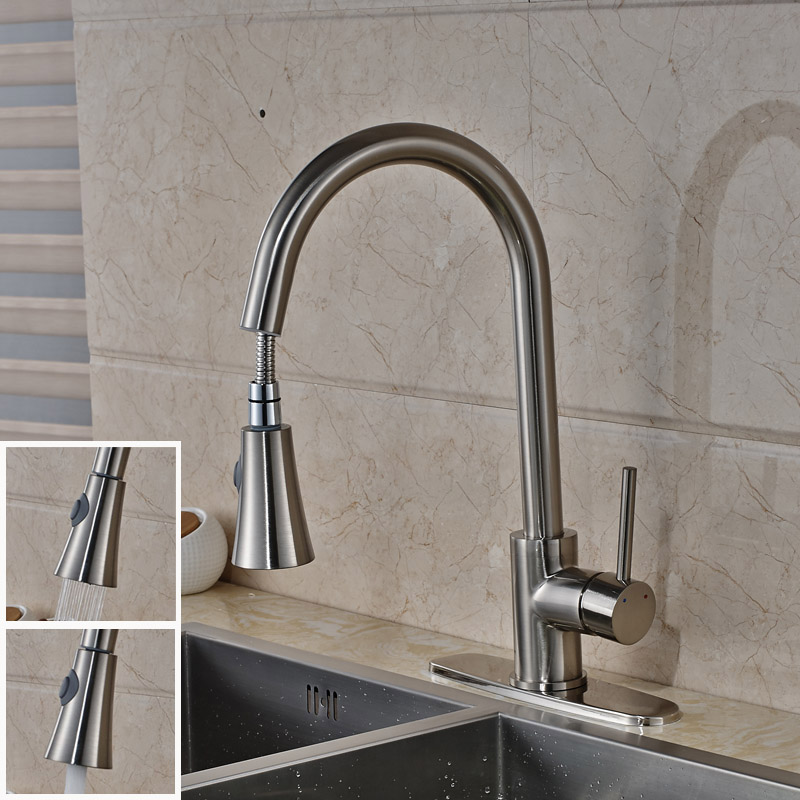 ФОТО Modern Pull Out Kitchen Sink Faucet One Handle 10