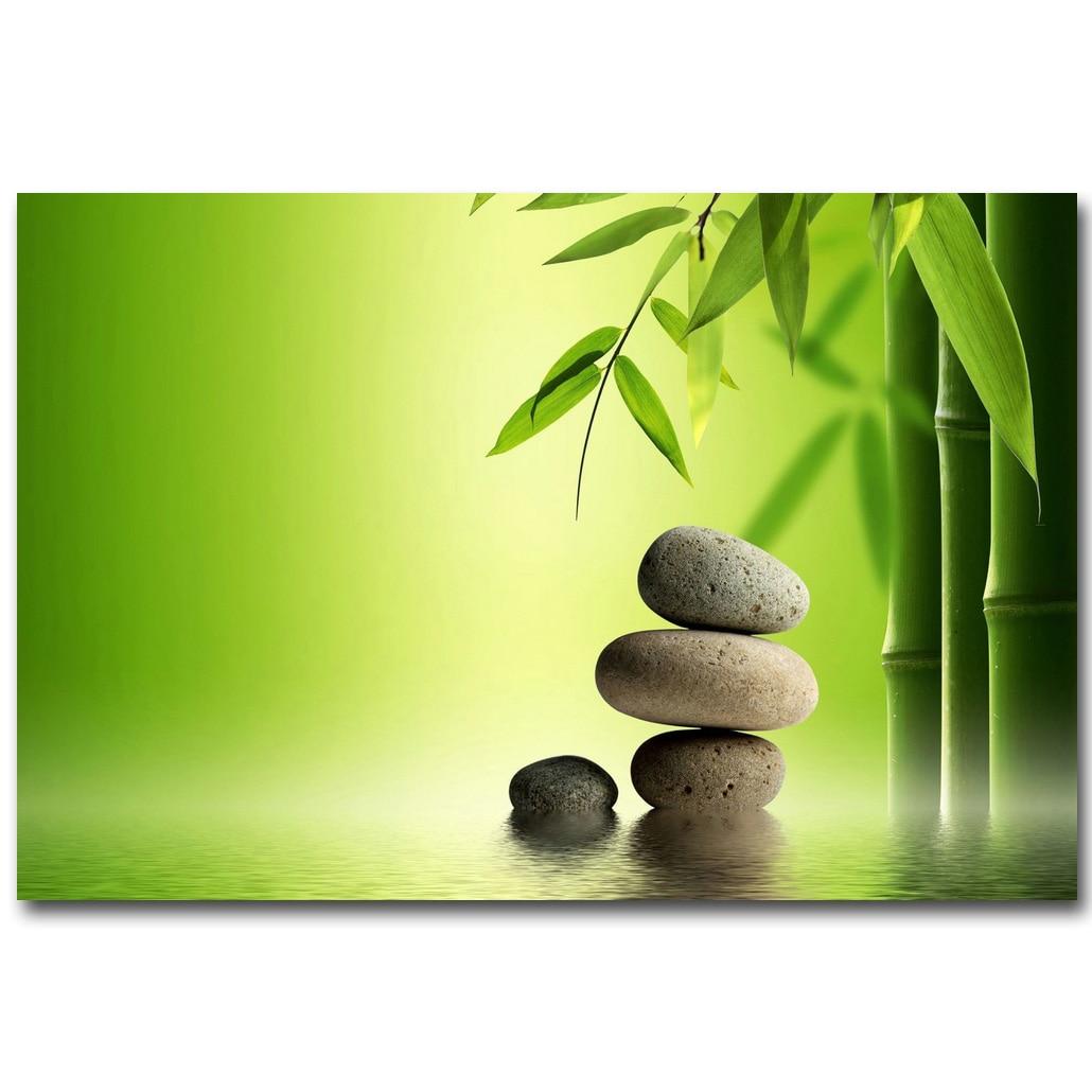 NICOLESHENTING ZEN Stone and Bamboo Meditation Art Silk Fabric ...