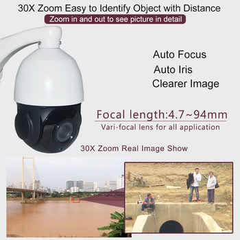 Security H.265 POE 5MP Auto Tracking PTZ Camera Tracker IR High Speed Dome 5 Megapixels IP Camera 30X ZOOM IP66 P2P Audio in Out