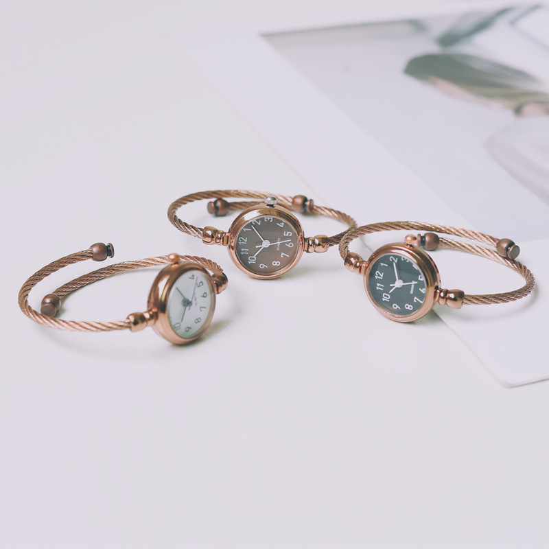 Small Fresh Fashion Bracelet Women Watches Simple Drop Shipping Ladies Wristwatches 2019 Retro Coffee Steel Woman Quartz Clock