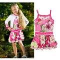 Hot summer little girls dress pretty floral suspender dress catimini cotton party dress humming bird embroidery swing sundress1