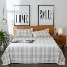 cotton and linen mat kit mattress topper blue lattice print sheets set queen king size