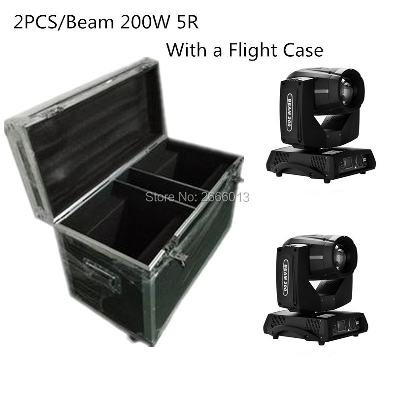 2pcs/lot 200W Beam Light+ Flight Case Professional Stage Equipment 200W 5R DJ Lighting /DMX Spot Moving Head Light Disco Lights cheap stage lighting 132w 2r mini sharpy beam moving head disco light with flight case dj equipment 14 gobo dmx stage lighting