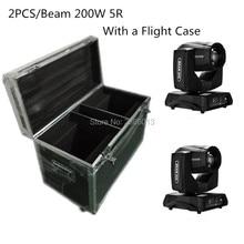 2 unids/lote 200 W Haz de luz + flight case profesional equipo de la etapa 200 W 5R DJ iluminación dmx punto móvil cabeza luces de discoteca de luz