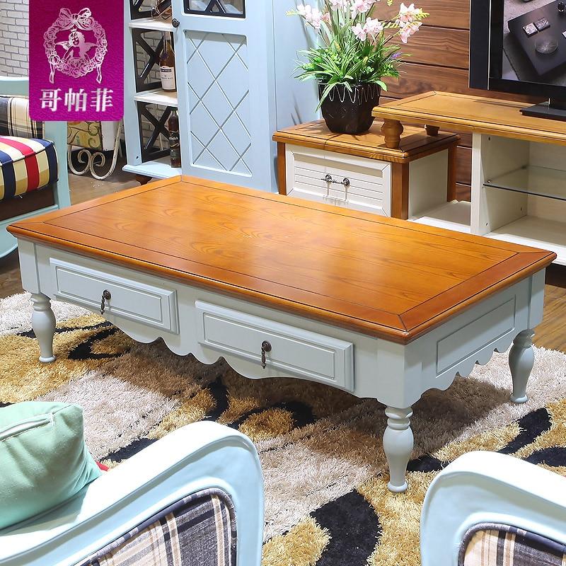 Rustic wood living room coffee table long a few American ...