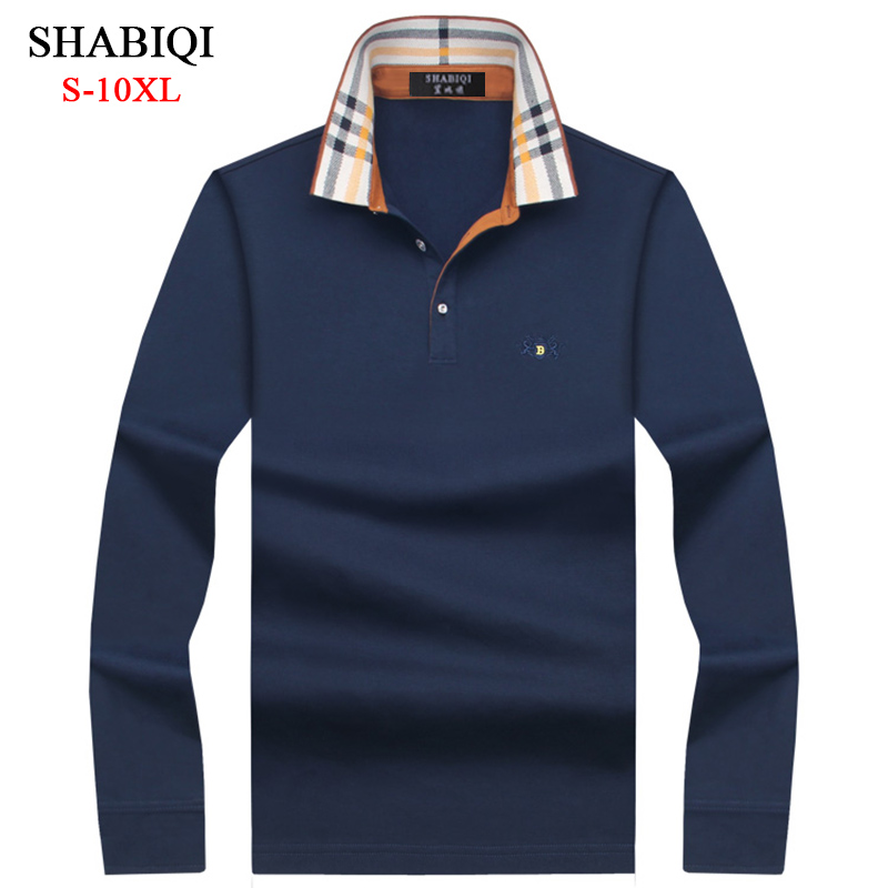 SHABIQI Casual cotton Men   Polo   Shirt Mens Long Sleeve Solid   Polo   Shirts Camisa   Polos   Tops Tees Plus size 7XL 8XL 9XL 10XL 6689
