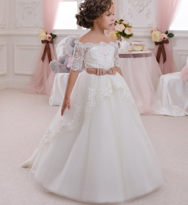 Boat Neck Half Sleeves Lace Sequined Little Bride Wedding Holy   Dress   Bow Tie Belt   Flower     Girl     Dresses   Prom Vestidos for   Girls