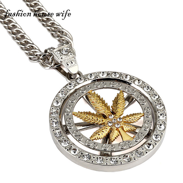 Fashion house wife fashion hiphop necklace high quality crystal fashion house wife fashion hiphop necklace high quality crystal spinning hempleaf circular pendant necklacesln0187 mozeypictures Gallery