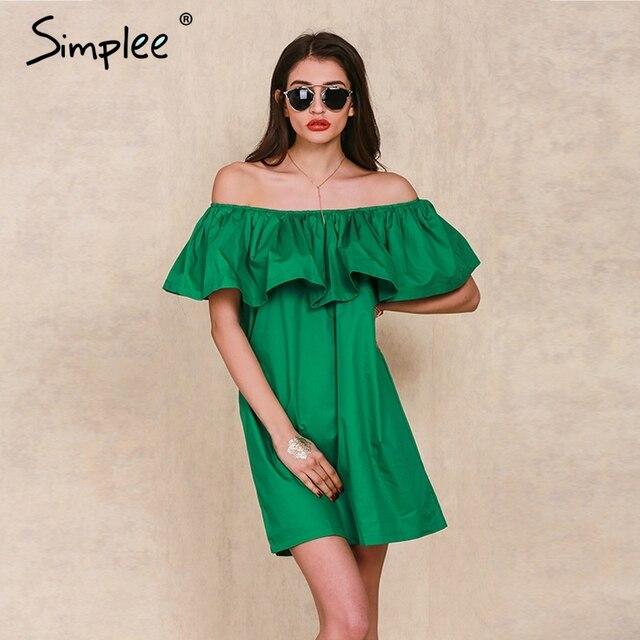 Simplee apparel оборками slash шея женщины dress летом стиль с плеча сексуальные платья vestidos белый tube beach dress cotton