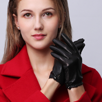 NEW Genuine Leather Gloves Female Autumn Winter Short Style Sheepskin Gloves Fashion Simple Five Finger Driving Mittens NW95 2020 new summer women gloves short style lady genuine leather glove fashion dance driving half palm five finger gloves ns08