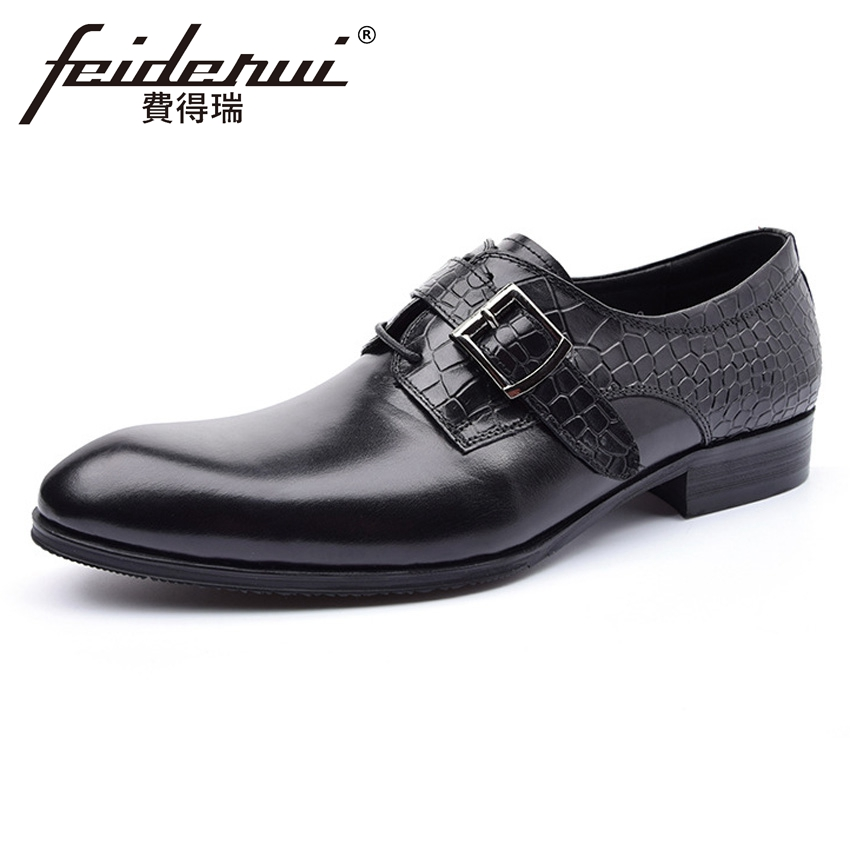 Luxury Italian Designer Genuine Leather Mens Monk Strap Footwear Round Toe Alligator Man Formal Dress Party Wedding Shoes YMX339 2015 italian luxury alligator fashion mens dress shoes genuine leather with buckle black flats for man wedding party office 979