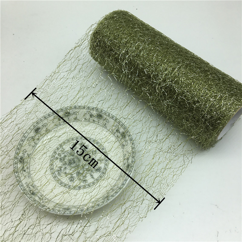 10yard 6 quot Gold and Silver Purl Tulle Roll US Nets Fabric Sewing Mesh DIY Tutu Skirt Accessories Flower Wedding Decorative in Fabric from Home amp Garden