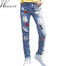 Wmwmnu 2017 Одежда вышивка отверстие рваные джинсы женские брюки джинсовые старинные прямые джинсы Середины талии брюки случайных женщина ls250