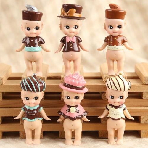 все цены на  Lovely Sonny Angel Chocolate Ver. Mini PVC Figures Collectible Model Toys 8cm 6pcs/set  онлайн