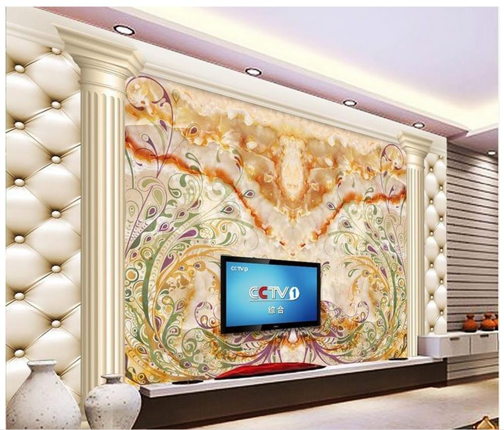 Home Decor Living Room Wall Covering Marble Leather