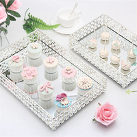 New Creative Modern Crystal Glass Tray European Style Dessert Tray Fruit/Cake Plate Party Supplies Home Decor Table Storage Tray