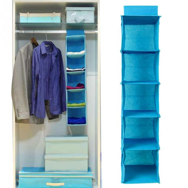 5 Layers Underwear Clothing Shoe Jean Non Woven Fabric Door Wall Closet Organizer Hanging Bag  3 Colors 20*30*90cm