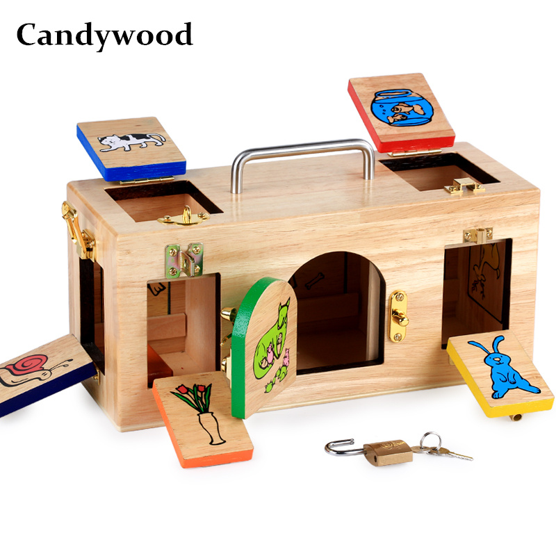 Candywood Montessori wooden lock box Early Childhood Education Preschool Training Kids unlocking box Children educational toy baby toy montessori baric weight tablets with box early childhood education preschool training kids brinquedos juguetes