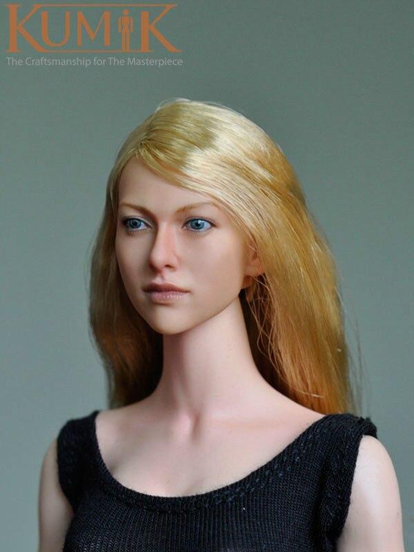 KUMIK 1 6 Long Hair Lovely Girl Female Head Sculpts Model Toys For 12 font b