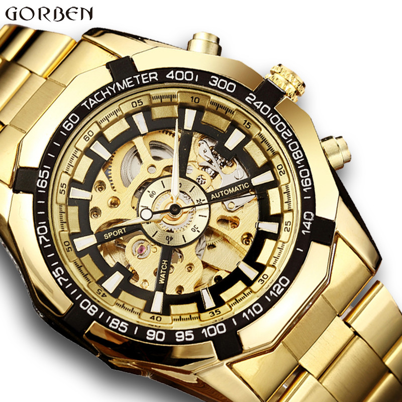 Luxury Golden Automatic Mechanical Men Watch Skeleton Stainless Steel Bracelet Self-wind Wrist Watch Men Clock relogio masculino stylish 8 led blue light digit stainless steel bracelet wrist watch black 1 cr2016