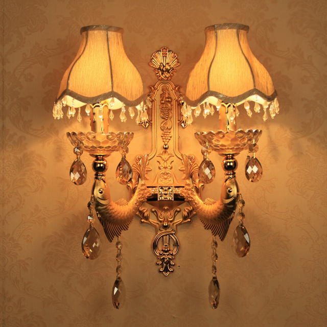 Home Led Mirror Lights Wall Lamp Crystal Wall Decoration Interior Wall  Lights Decorative Wall Sconce Bronze