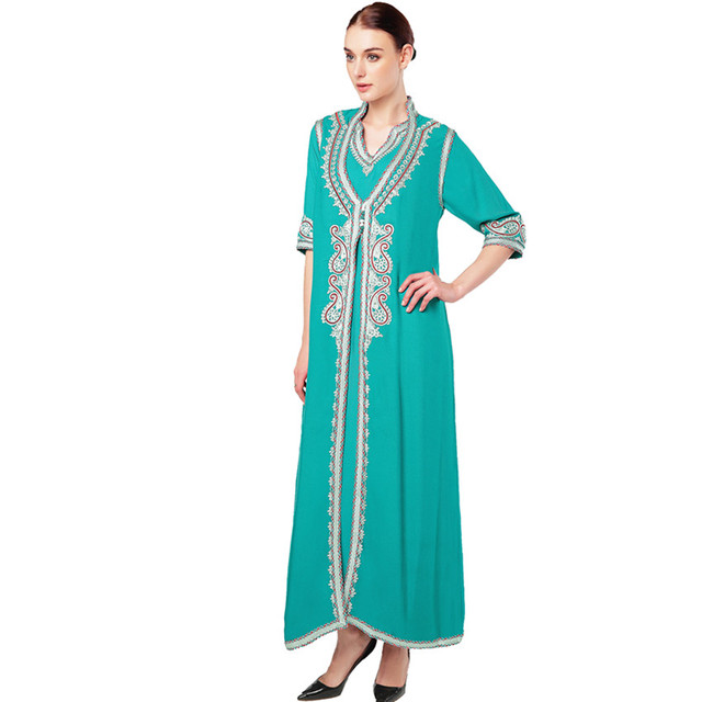 f70c3ca8ff0 ... Women islamic clothing Maxi Long sleeve Dress moroccan Kaftan Caftan  abaya tunic Muslim gown turkish ethnic ...
