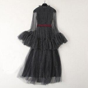 Image 2 - Robe longue noire, à manches longues, à mailles évasées, à la mode, vêtement de soirée, vente en gros