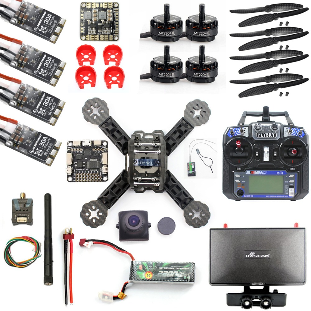 DIY RTF Racer 190 FPV Drone F3 Flight Controller FS-I6 Transmitter Camera HD Monitor RC Multicopter Helicopter diy fpv drone racer 250 arf racing quadrocopter raptor s tower f3 fc built in 5 8g transmitter osd flysky fs i6 with hd camera