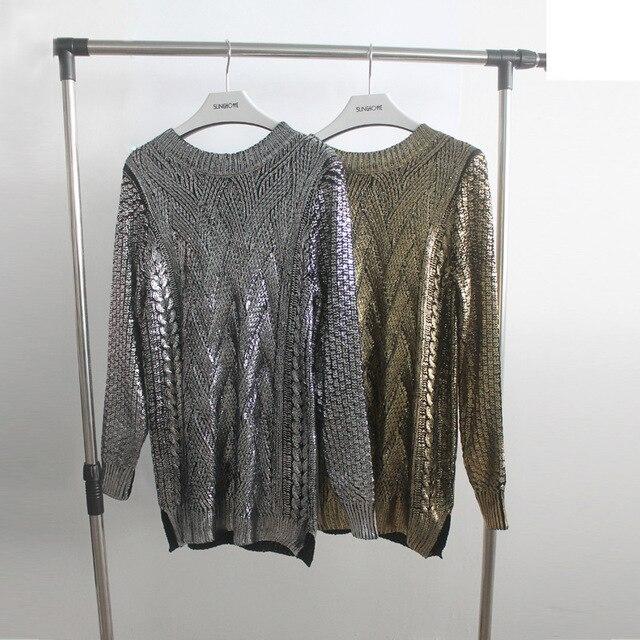 Весенняя Мода Золото Женщины Свитер 2017 Женщины Пуловер Один Размер Bronzing Трикотажные Свитера Свободные Топы для женщин A1201