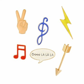 Fashion Enamel Brooch Jewelry Accessories Arrows Golden Lightning Music notation Yay Gesture Brooches Women Callor Pins image