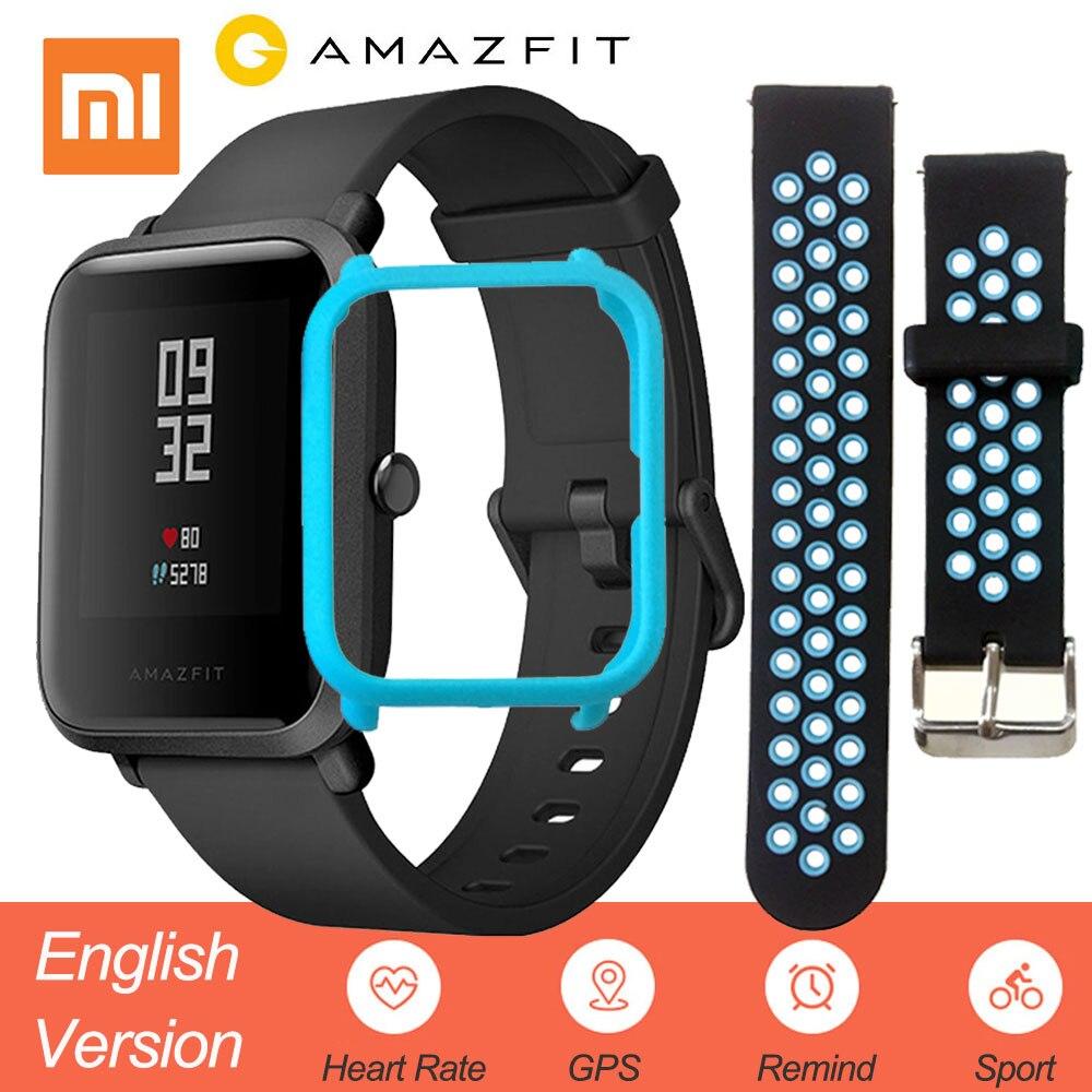 Versión inglés Xiao mi Amazfit Bip Smart Watch hombres Hua mi ritmo Smartwatch Android iOS Monitor de ritmo cardíaco 45 días de la batería