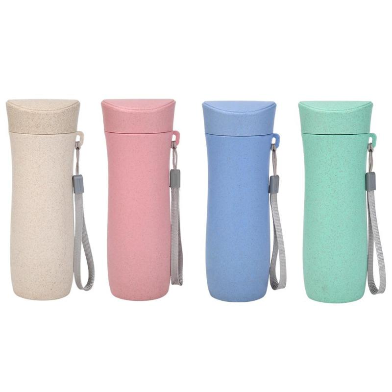 Tea-Mug Drink-Bottle Wheat-Straw Coffee Candy-Color 300ml Portable with Rope Eco-Friendly
