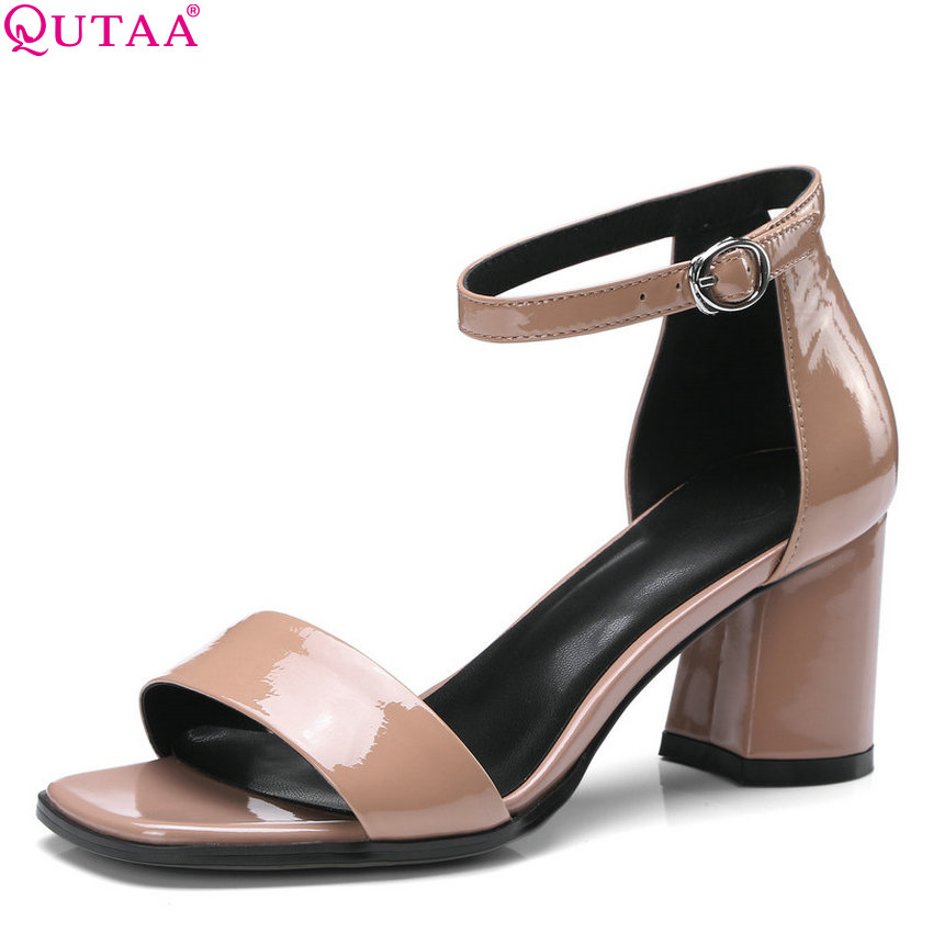 QUTAA 2018 Women <font><b>Pumps</b></font> Square High Heel Cow Leather +p Fashion All Match Simple Square Toe Platform Women <font><b>Pumps</b></font> Size 34-42