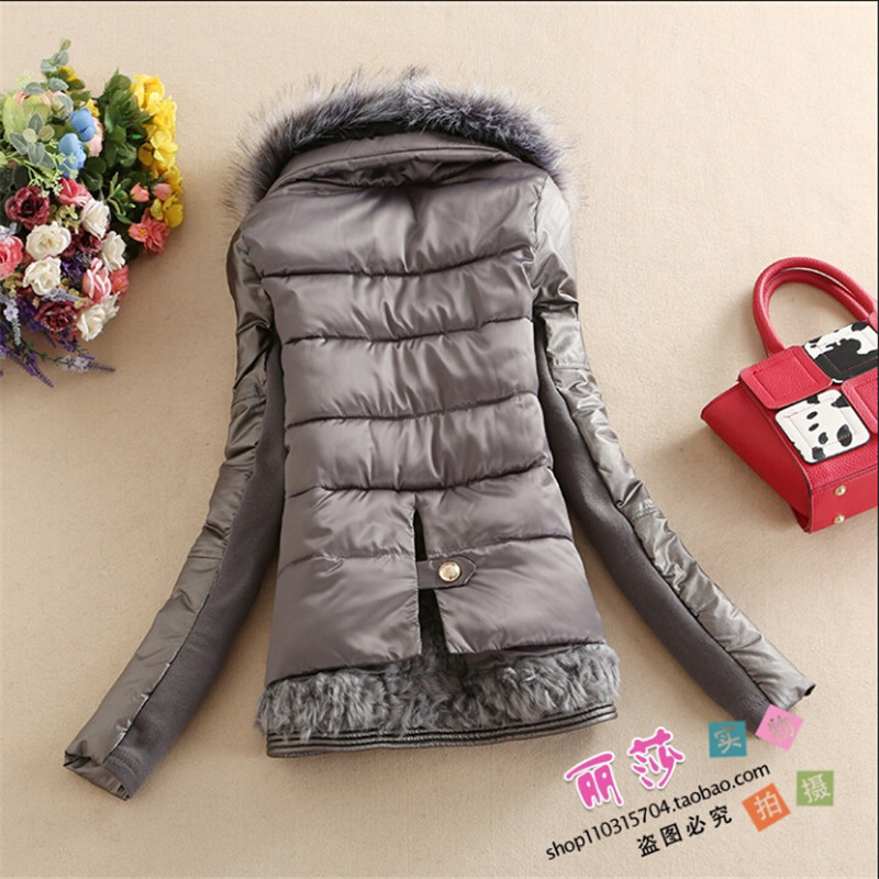 ФОТО Patchwork Women Winter And Autumn Coats Thicken Spliced Artificial Fur Collar Female Winter Down Coats And Jackets Wt91355