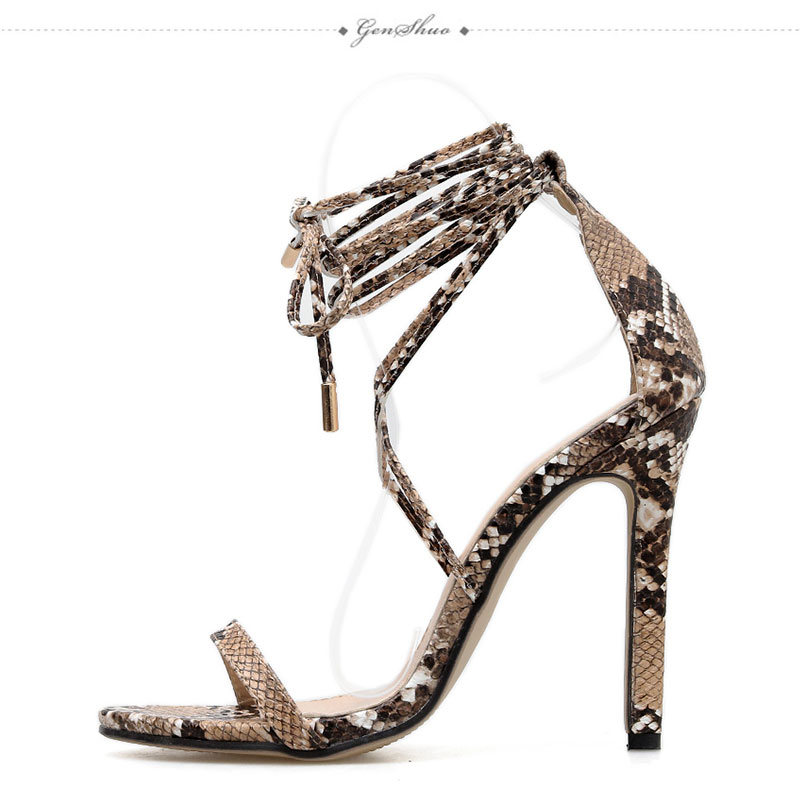 Image 4 - GENSHUO 2019 Summer Fashion Snake skin Ankle Strap Women Sandals Cross tied Super High Stiletto Heels Lady Pumps Sandals ShoesHigh Heels   -