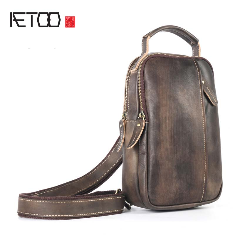 AETOO Men Shoulder Bag Small Cell Phone Flap Genuine Leather Bag Strap Sling Men Messenger Bags Leather Chest Pack Men Chest Bag
