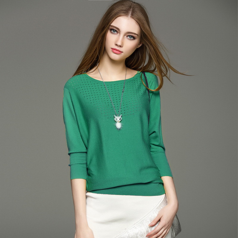 Big Style Batwing Sleeve Hollow Design Round Neck Cotton Sweater Women Knitwear Women Spring Camisola Trui