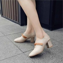 купить New Autumn Women Boots Female Square Heel Slip on Women High heels Shoes Pointed Toe Casual Ladies Fashion Shoes Women по цене 1256.57 рублей