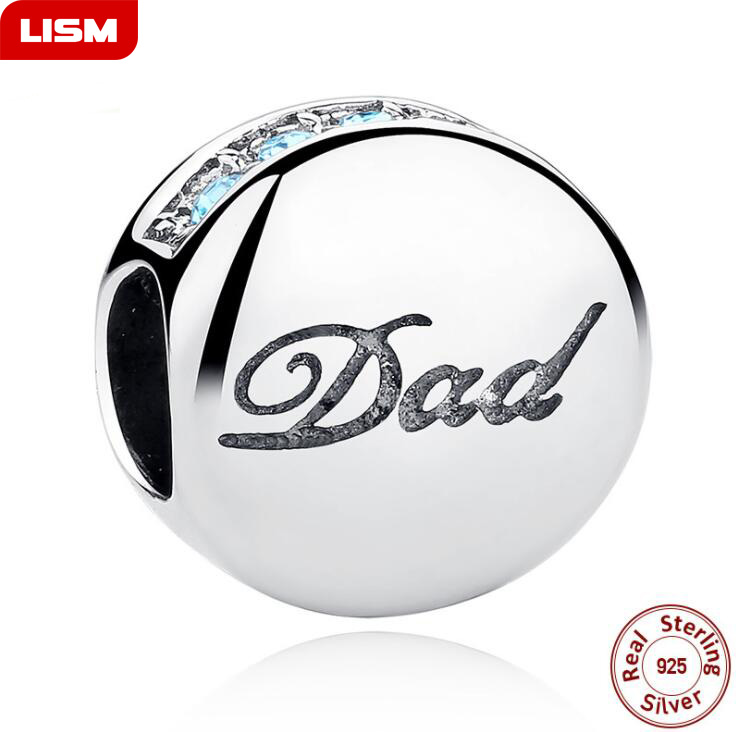 Dropshipping Bead Charm Dad Authentic 100% 925 Sterling Silver Fit Pandora Original Charms Bracelet Father's Jewelry gift
