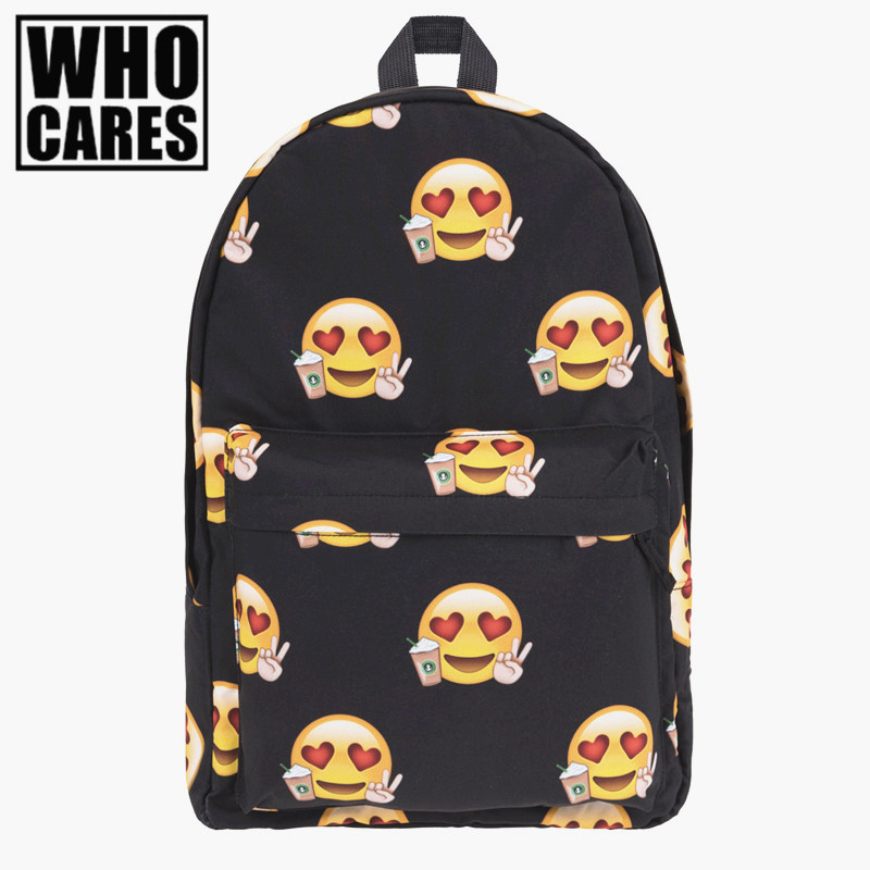 Emoji Loves Black Printing backpack women 2016 Fashion Who Cares bookbag school bags for teenage girls sac a dos canvas backpack shofoo 2017 new arrive women mature med heels pointed toe buckle strap pumps dress